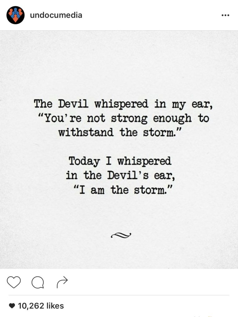 The Devil whispered in my ear storm quote
